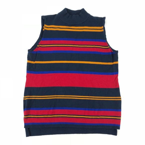 32ae8eb15d8 One A Striped Turtleneck Sleeveless Knit Top. M 5b9319b0409c156406084ffb